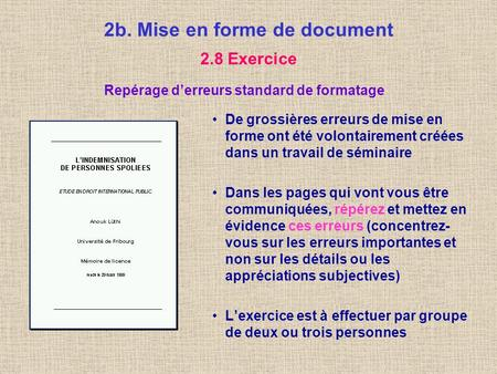 2b. Mise en forme de document
