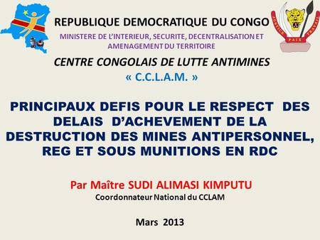 REPUBLIQUE DEMOCRATIQUE DU CONGO