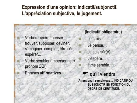 Expression d'une opinion: indicatif/subjonctif. Lappréciation subjective, le jugement. Verbes : croire, penser, trouver, supposer, deviner, simaginer,