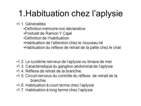 1.Habituation chez l'aplysie