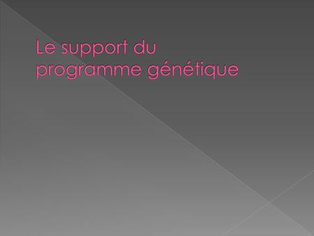 Le support du programme génétique