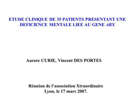 ETUDE CLINIQUE DE 35 PATIENTS PRESENTANT UNE
