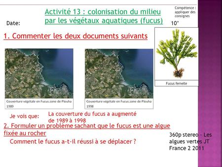1. Commenter les deux documents suivants