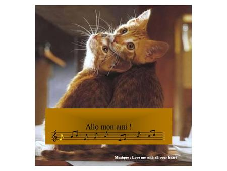 Allo mon ami ! Musique : Love me with all your heart.