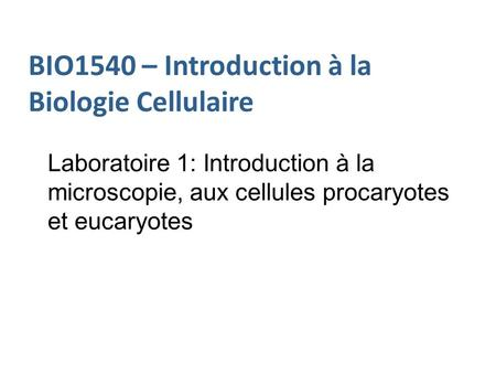BIO1540 – Introduction à la Biologie Cellulaire Laboratoire 1: Introduction à la microscopie, aux cellules procaryotes et eucaryotes.