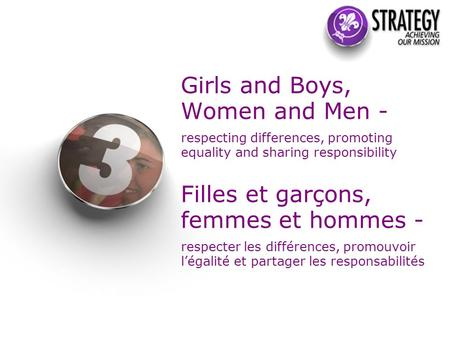Girls and Boys, Women and Men - respecting differences, promoting equality and sharing responsibility Filles et garçons, femmes et hommes - respecter les.