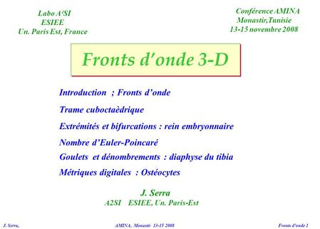Fronts d'onde 3-D Introduction ; Fronts d'onde Trame cuboctaèdrique