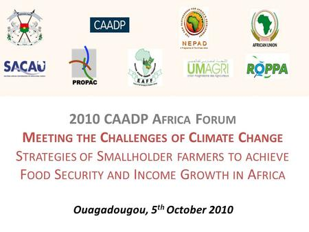 2010 CAADP A FRICA F ORUM M EETING THE C HALLENGES OF C LIMATE C HANGE S TRATEGIES OF S MALLHOLDER FARMERS TO ACHIEVE F OOD S ECURITY AND I NCOME G ROWTH.