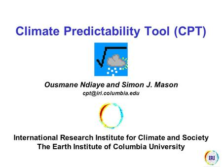 Climate Predictability Tool (CPT)