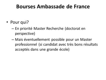 Bourses Ambassade de France