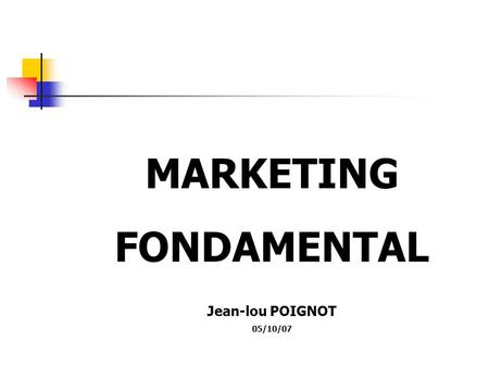 MARKETING FONDAMENTAL