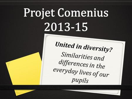 United in diversity? Similarities and differences in the everyday lives of our pupils.