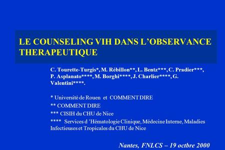 LE COUNSELING VIH DANS L'OBSERVANCE THERAPEUTIQUE