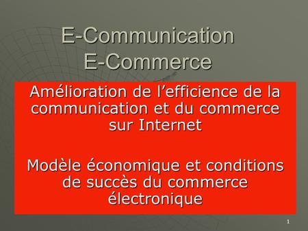 E-Communication E-Commerce