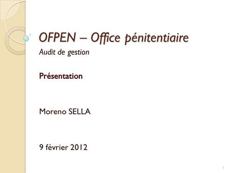 OFPEN – Office pénitentiaire