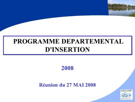 PROGRAMME DEPARTEMENTAL D'INSERTION 2008 Réunion du 27 MAI 2008.