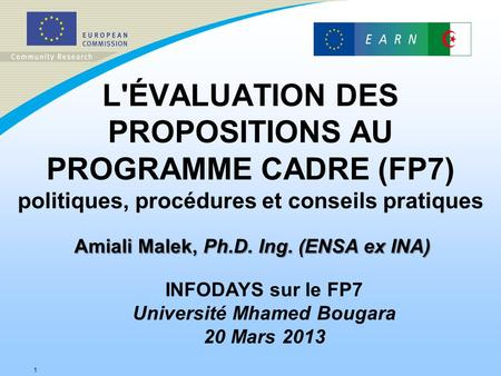 Amiali Malek, Ph.D. Ing. (ENSA ex INA) Université Mhamed Bougara