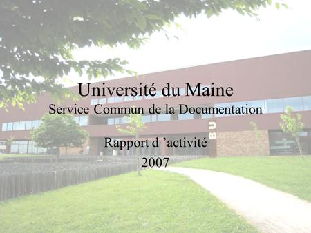 Université du Maine Service Commun de la Documentation Rapport d activité 2007.