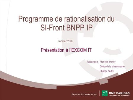 Programme de rationalisation du SI-Front BNPP IP