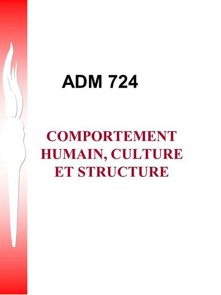 ADM 724 COMPORTEMENT HUMAIN, CULTURE ET STRUCTURE.