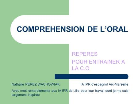 COMPREHENSION DE L'ORAL
