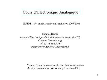 Cours d electronique analogique