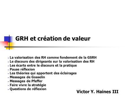 Valuation et r les de la drh ppt t l charger for Dujardin hec