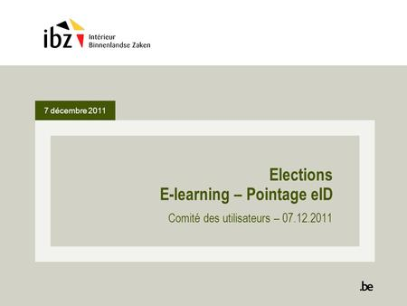 Elections E-learning – Pointage eID