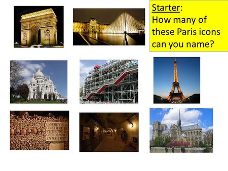 Starter: How many of these Paris icons can you name?