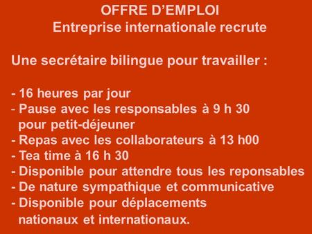 Entreprise internationale recrute