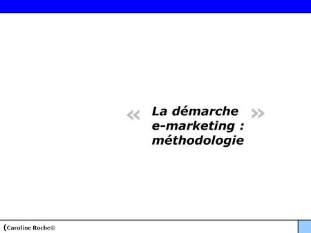La démarche e-marketing : méthodologie « » ( Caroline Roche©