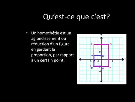 Quest-ce que cest? Un homothétie est un agrandissement ou réduction dun figure en gardant la proportion, par rapport à un certain point.