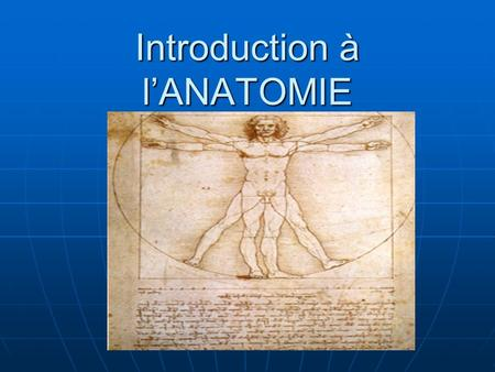 Introduction à l'ANATOMIE