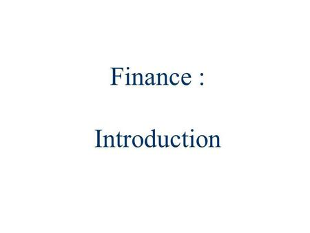 Finance : Introduction