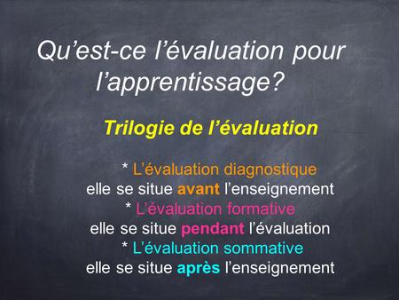Quest-ce lévaluation pour lapprentissage? Trilogie de lévaluation * Lévaluation diagnostique elle se situe avant lenseignement * Lévaluation formative.