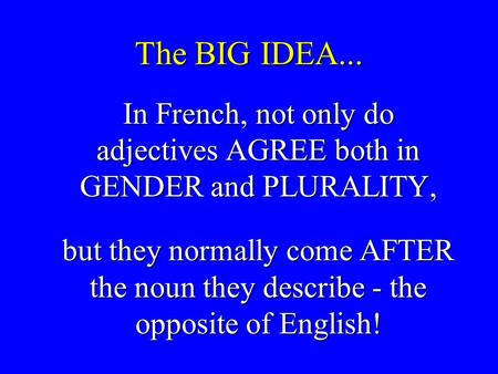 The BIG IDEA... In French, not only do adjectives AGREE both in GENDER and PLURALITY, In French, not only do adjectives AGREE both in GENDER and PLURALITY,