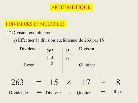 263 = 15 × = + × ARITHMETIQUE I DIVISEURS ET MULTIPLES