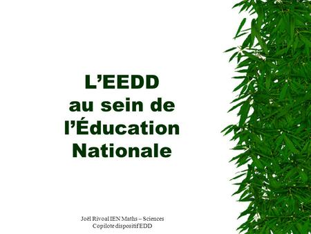 Joël Rivoal IEN Maths – Sciences Copilote dispositif EDD LEEDD au sein de lÉducation Nationale.