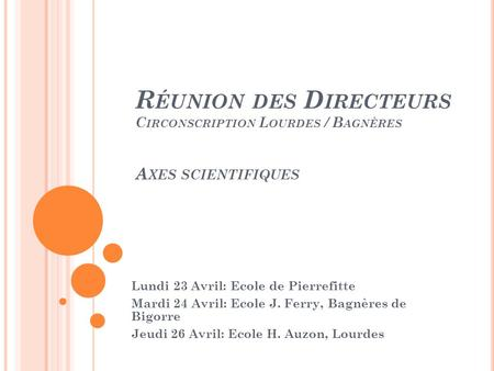 R ÉUNION DES D IRECTEURS C IRCONSCRIPTION L OURDES / B AGNÈRES A XES SCIENTIFIQUES Lundi 23 Avril: Ecole de Pierrefitte Mardi 24 Avril: Ecole J. Ferry,