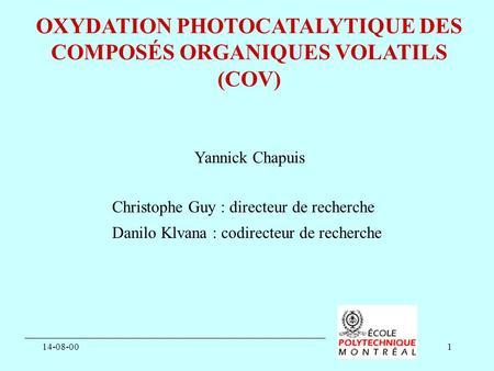 Atelier exp rimentation et instrumentation 2008 d veloppement dune chambre de simulation - Composes organiques volatils ...