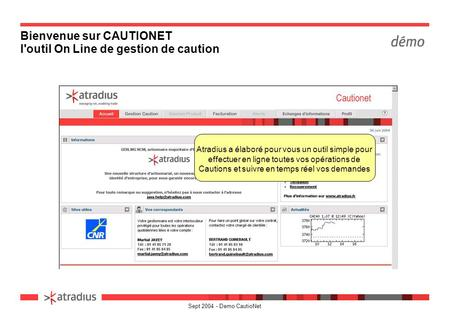 Bienvenue sur CAUTIONET l'outil On Line de gestion de caution
