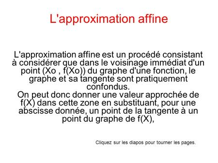 L'approximation affine