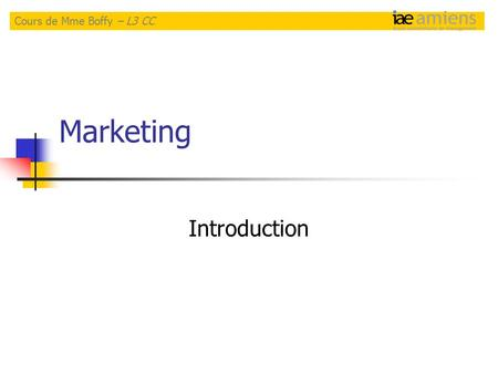 Marketing Introduction Cours de Mme Boffy – L3 CC.