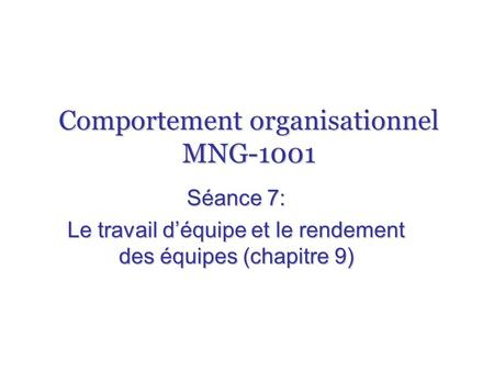Comportement organisationnel MNG-1001