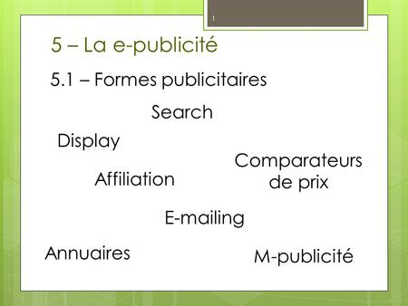 5 – La e-publicité 5.1 – Formes publicitaires Search Display