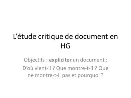 L'étude critique de document en HG