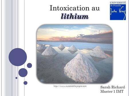 Intoxication au lithium Sarah Richard Master 1 IMT