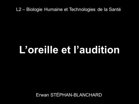 L'oreille et l'audition