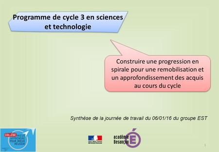 Programme de cycle 3 en sciences et technologie