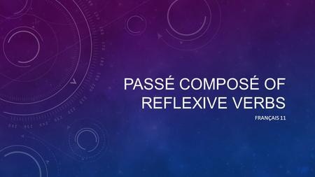PASSÉ COMPOSÉ OF REFLEXIVE VERBS FRANÇAIS 11. AUXILIAIRE You always conjugate reflexive verbs with the auxiliary être So, which of the following is correct?